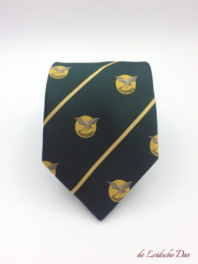 Custom necktie with recurring logo, woven neckties made to order in a custom made design