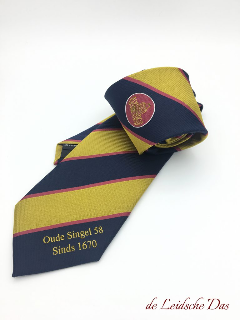 Tailor made personalised ties we made to order in association colors with logo and text