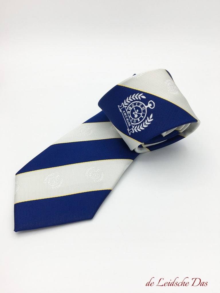 Bespoke association necktie with logos custom woven in the requested colors and striped pattern