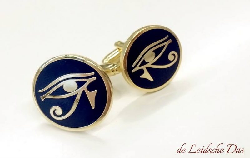 Cufflinks made in personalized cufflink designs, Cufflinks with the eye of horus (mirrored) that we made to order for a guild.