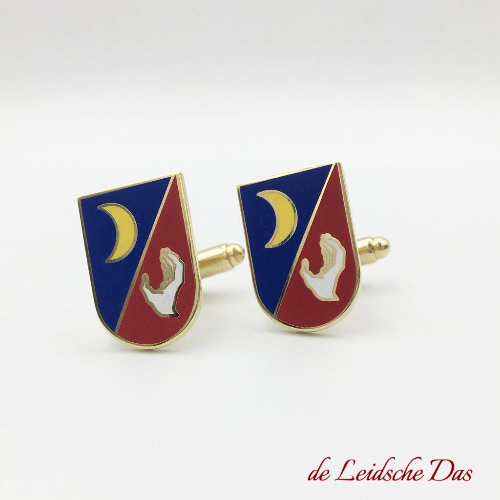 Custom cufflinks made to order, shield cufflinks with association crest