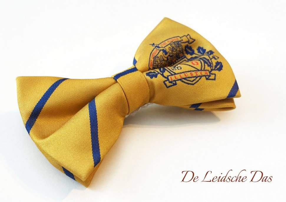 Handmade pre-tied bowtie with escutcheon, bowtie fabric custom weaved in the requested design