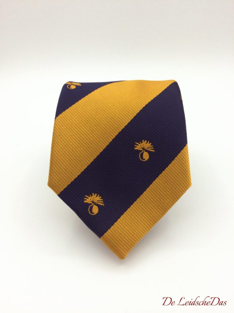 British ties with logos, repp woven in a personalized design