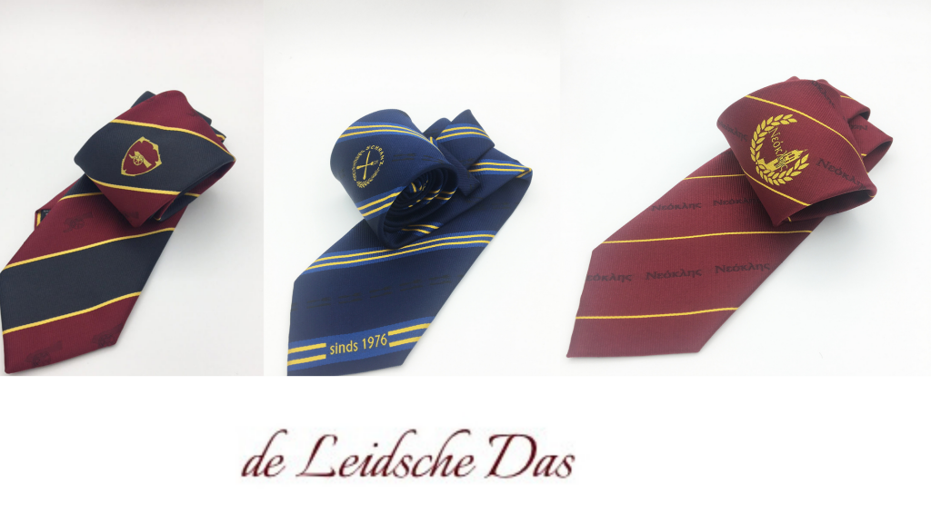 Classic striped ties weaved in a personalized tie design with a logo for organizations